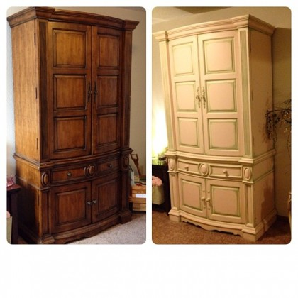 The before and after of a piece of furniture that had faux painting. Make an outdated piece of furnitre new again by choosing am updated faux painting technique to bring it to life!