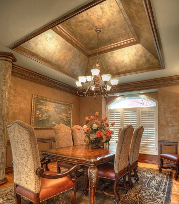 A beautiful dining room made more beautiful with the richness of faux painting by Macaluso Custom Design, 203 NE 70th Terrace, Gladstone MO  64118