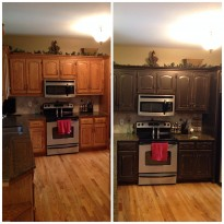 Before and after faux painted kitchen cabinets.